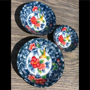 Vintage Sadek Hummingbird Lot of 3 dishes Japan